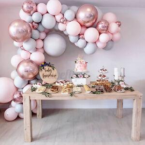 112-169 tlg Macaron Luftballons + Ballonbogen Set HochzeitRosa Rosa Girlande DE