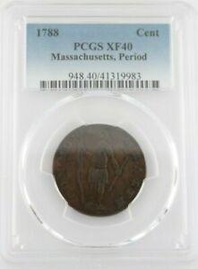 1788 1 Cent, Massachusetts, Period, PCGS XF40