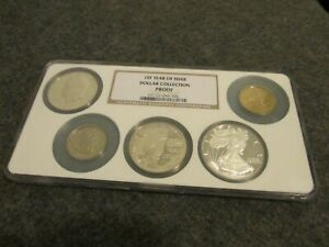 NGC 1st YEAR ISSUE DOLLAR COLLECTION PROOF SET ( 5-COINS)