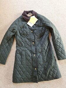 Womans Ladies Barbour Size 10 Black Quilted Trench Coat Jacket equestrian Belsay