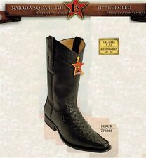 Los Altos Men's Narrow Square Toe Ostrich Cowboy Western Boots