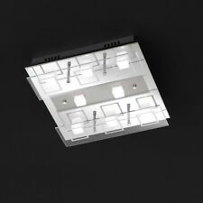 WOFI Plafonnier LED FITCH 8 BRAS CHROME VERRE 24 Watt 1840 Lumen 34x34 cm