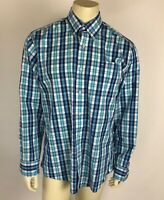 Southern Tide Mens Dress Shirt Button Down Blue White Yellow Plaid Classic Fit L