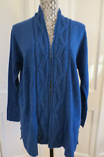 Forte Kinross Cashmere Lapis Open Cable Cashmere Cardigan – Small NWT $396