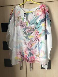 Wallis Floral  Kaftan Style Cold Shoulde Top Size L 16 - 18 Petite Lined.  BNWT