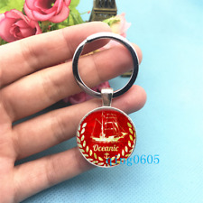 Anchor ,Red Boat Art Tibet Silver Keychains Rings Glass Cabochon Key chain -24