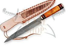 Damascus steel BLADE  SLICING KNIFE DYED BONE