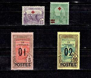 1915-  TUNISIA CLASSIC SEMI-POSTAL Lot of 4  Sc#B1- M/H/OG Great Colors!