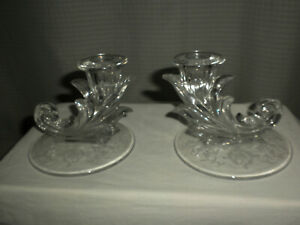 VTG 1 Pair 4 In Hgh Clear GLASS Candleholders with ETCHED Floral Base