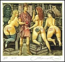 Kirnitskiy Sergey 2005 Exlibris C4 Mythology Paris Erotic Nude Owl Eule Sowa 103