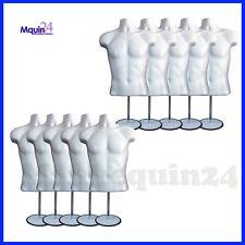 10 Pack Male Torso Mannequin Body Dress Form White Men 10 Stands 10 Hangers