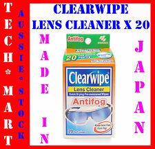 CLEARWIPE◉LENS SUNGLASS CLEANER◉WITH ANTIFOG◉20 PRE-MOISTENED MICROFIBRE WIPES◉