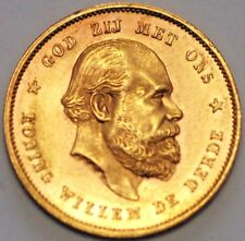 1877 .Netherlands Gold Coin . 10 Gulden Broadaxe William III . KM# 106  (A*37)