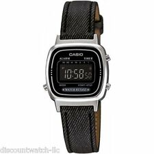 Casio LA670WL-1B Ladies Classic Black Leather Digital Watch Alarm NEW