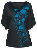 Women's Plus Size Floral Print Drape Batwing Short Sleeves Black Blouse Top