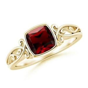 Vintage Style Cushion Cut Garnet Solitaire Ring in 14K Yellow Gold Size 8