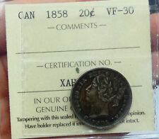 1858 Canada 20 Cent ICCS VF Certified - b
