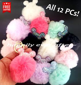 Pompom Keychain, Faux Fur Fashion Key chain - WHOLESALE LOT 12 PCs, Free Ship!