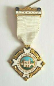 Royal Masonic-Institute For Girls-1953-Steward-Medal-Enamel and Gilded Metal