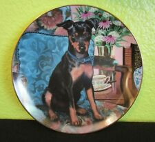 """Tea Time"" Collectible Plate * Danbury Mint * Miniature Pinschers * Dogs"