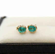 Beautiful Natural Emerald 14K Solid Yellow Gold Stud Earring Jewelry