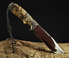UNIQUE CUSTOM HANDMADE KNIFE CANADIAN MAPLE BURL HANDLE *HUNTER* +LEATHER SHEATH