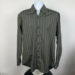 Equilibrio Italia Yellow Black Striped Mens Dress Button Shirt Size Large L