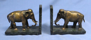 Antique Pair Bronze Metal Elephants on Marble Base Bookends Marked 336. Eleph EX
