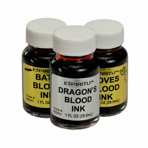 Set of 3 Ritual Inks by Espiritu 1 oz Bottle of Dragon's Dove's Bat's Blood Ink