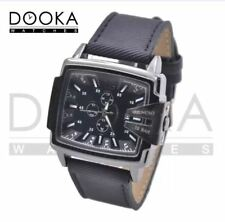 DOOKA BENCHI Men's Military Style Army Leather Strap Rectangular Watch (Black)