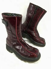 Women's Dr. Martens VTG 90's Zip up Mid calf boots Red Patent leather Sz 8 US