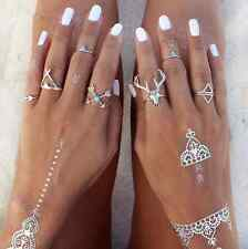 Boho Vintage Sounds Jewelry 7 pcs Metal Ring Silver Old Silver Woman Ring U87