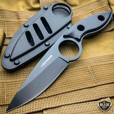 "7"" Tactical Dagger Fixed Blade Hunting Survival Knife w/ Hard Belt Sheath Black"