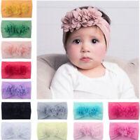 Kids Baby 3D Flower Big Floral Bow Soft Hairband Nylon Headband Elastic Headwrap