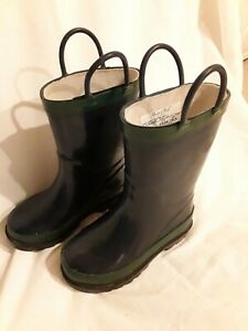 Western Chief Navy/Grn Rubber Rain Boots Kids Size 7/8