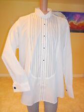 Tuxedo Dress Shirt French Cuff XL 17 17.5 34 35 Bib Pinstripes Silver Stripe
