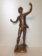 FRENCH ANTIQUE BRONZE STATUE SINGER SIGNED EUGENE MARIOTON GOLD-BROWN PATINA