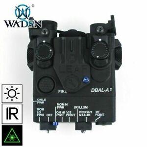 WADSN DBAL-A2 LED White Flashlight GREEN Laser IR Pointer Device - BLACK -