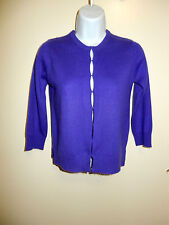 ASAP 100% CASHMERE BRIGHT PURPLE CREWNECK 3/4 SLEEVES HOOKS CARDIGAN SWEATER P