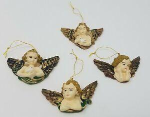 """Lot De 12 Vtg Miniature 2 """" Doré Angelot Ange Ancien Sapin de Noël Décorations"""