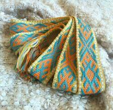 Cotton belt Orange medieval belt Embroidered pattern Ethnic pattern Folk style