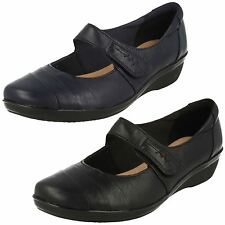 Ladies Clarks Everlay Kennon Leather Casual Mary Jane Strap Shoes E Fitting