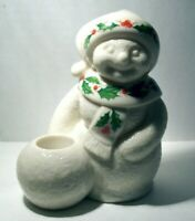 LENOX HOLIDAY MRS.SNOWMAN CANDLE HOLDER  NEW
