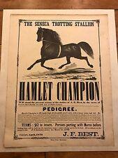 ORIGINAL APRIL 1872 HAMLET CHAMPION THE SENECA TROTTING STALLION J.F BEST POSTER