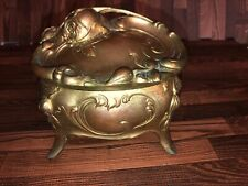 Circa Mid 1800's Antique French Gilt Metal Ring Box