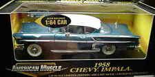 1958 Chevrolet Impala Hardtop Blue 2 cars 1:18 Ertl American Muscle 32821