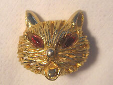 Face Brooch Pin With Jeweled Eyes Vintage Gold Tone Signed Kramer Cat
