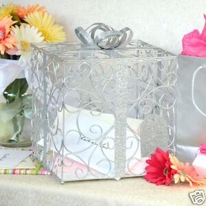 Silver Wedding Card Box Reception Gift Card Holder Bridal Shower Baby shower