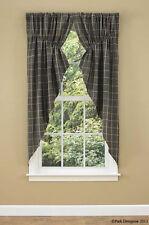 "Faded Black Stonebridge Country Plaid Cotton Lined Prairie Curtains 72"" x 63"""