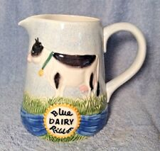 Vintage 1996 OMNIBUS By FITZ & FLOYD 1 1/2 Qt Pitcher Blue Dairy Ribbon Cows